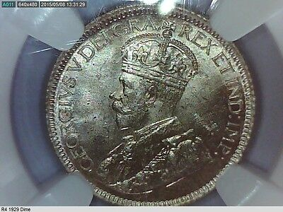 1929 Canadian Silver Dime(10 cents) NGC MS 63