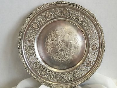 Antique Islamic Persian Hand Chased Solid Silver Tray with Fine Engraving Marked