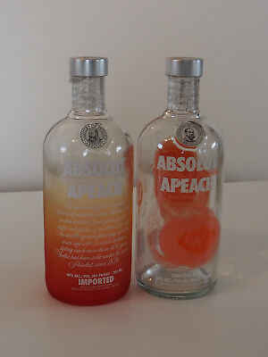 Absolut Vodka Bottles Peach Pair (empty bottles NO Vodka)