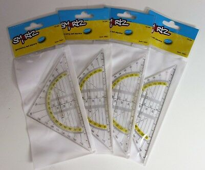 Geometry Set Square Drawing Drafting Triangle Ruler With Grip 0-180 degrees 1-50