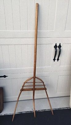 Antique Wooden Pitchfork Hand Made Farm Tool Vintage Hay Fork
