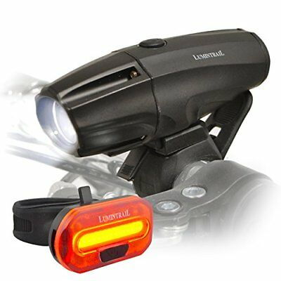 Lumintrail Super Bright USB Rechargeable LED Bike Light Set Headlight Taillig...