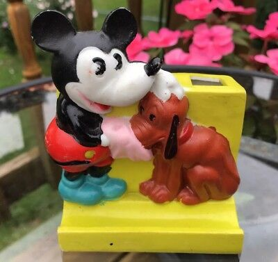 Rare 1930s Mickey Mouse & Pluto Bisque Toothbrush Holder Made in Japan