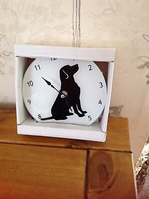 Glass clock with Dog picture New &Boxed