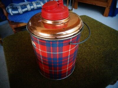 Vintage Sealtite Picnic Jug Red Plaid Picnic Thermos Flass Lined Gruarco 1/2 Gal