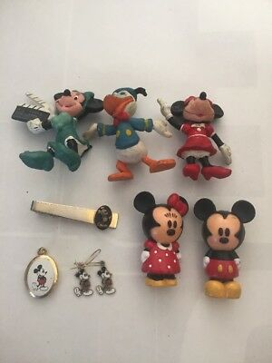 Vintage Mickey Mouse Tie Clip Locket Earrings Walt Disney Toys Minnie Donald Lot