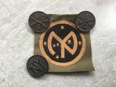 Rare Original WWI, 3 Bronze Collar Insignias And Patch 27th Infantry Division NY