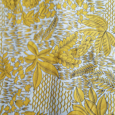 Yellow Tropical Print Vintage Cotton 4 Yards