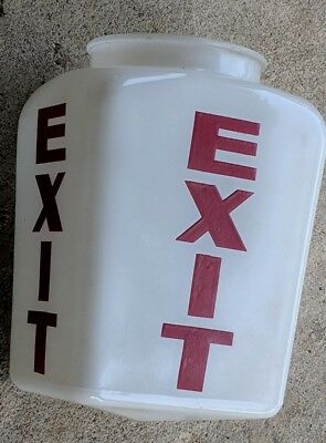 Vintage White Milk Glass Light Globe Red EXIT Sign Theater Industrial Steam Punk