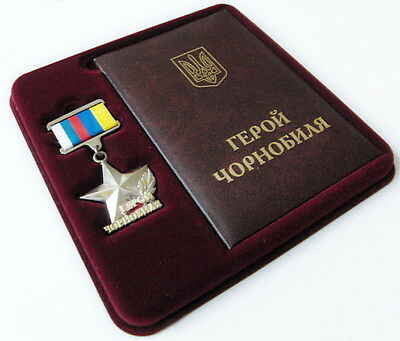 Hero of Chernobyl Order rare Russian-Ukrainian type Award Medal + Doc & Box