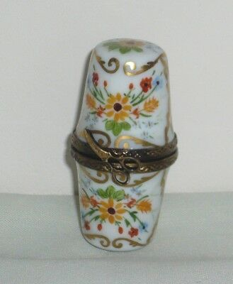 Limoges France Hand Painted Double Thimble Sewing Trinket Box