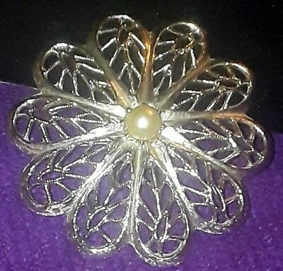 Vintage Brooch Pin signed Caroline Emmons silver tone with faux? pearl at center