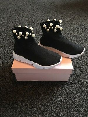 Girls Black Sock Trainers Boots Size 8 Eur 26