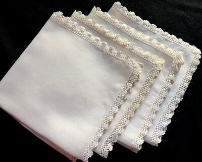 "Four 12"" SQ Lovely Tea Serving Napkins Delicate Crochet Hem Clean Fresh to Use"