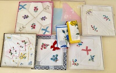 Vintage Retro Lot Of Boxed Embroidered Handkerchieves Floral Irish Linen Swiss