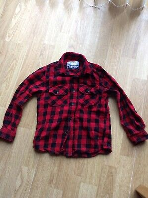 Boys Red Checked Shirt From Primark Size 5-6 Years 116cm