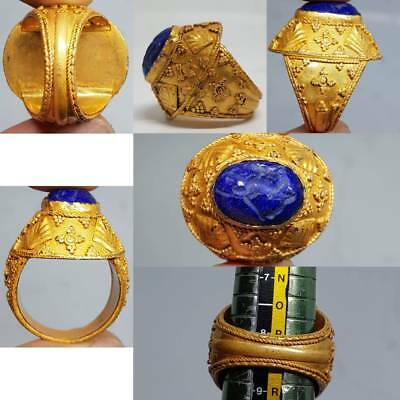 Deer lapis lazuli intaglio Stone Gold gilding Old Lovely Ring   # 3D