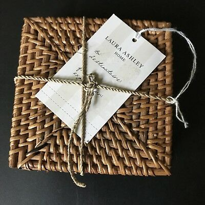 LAURA ASHLEY COASTERS Set of 4 RATTAN Coasters 10cm x 10cm RRP £15 Brand New