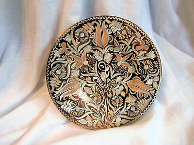 A Beautiful Vintage Hand Etched Copper Wall Plate