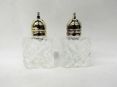 """Vintage Rogers Beautiful Crystal Glass Small Salt & Pepper Shakers Silver1"""" x 1"""""""