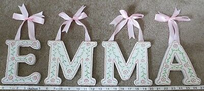 """EMMA - Name Decoration - 6"""" White & Pink Flowers Wood Wall Letters"""
