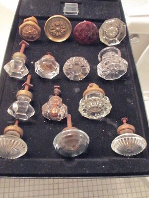 Antique Vintage Lot of 14 Door Knobs - CLEAR Glass,  Brown and Brass