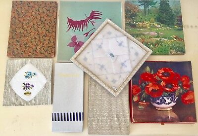 Vintage Lot Boxed Irish Linen & Swiss Embroidered Handkerchieves