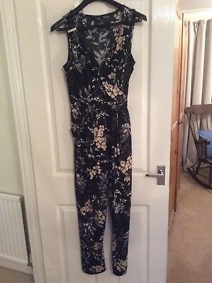 Beautiful Wallis Black & Beige Floral Pattern Stretch Summer Jumpsuit Size 12