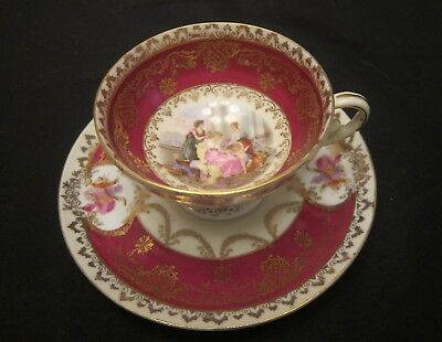 Royal Vienna Style Cup and Saucer Maidens Cherub Red and Gold
