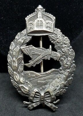 Antique 925 Sterling Silver WWI German Army Imperial Pilot Badge C-Clasp Cut Out