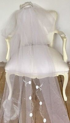 Stunning Genuine Vintage Tulle & Embroidery Wedding Veil With Tiara & Long Train