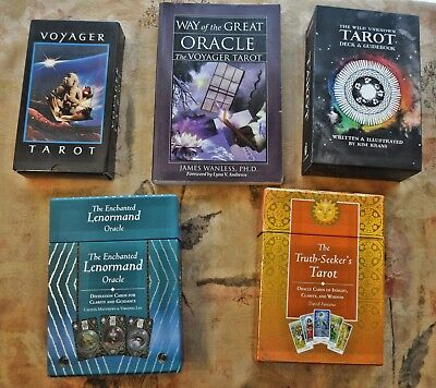 Tarot Card Sets, Lenormand Deck, and Voyager Tarot Lot plus extra book