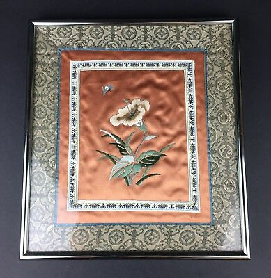 Vintage Framed Chinese/Japanese Butterfly With Flower Embroidered Picture