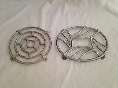 """2 Vintage French Cast Aluminum Trivets Stamped """"Made in France"""""""