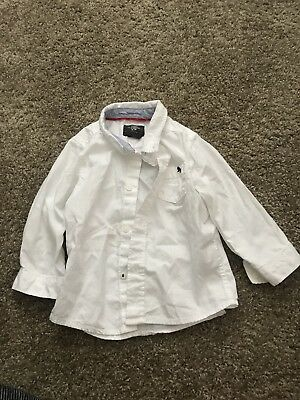 Baby Boy White Long Sleeve Button Down H&M 9-12 Months PreOwned