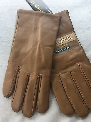 Isotoner Gloves Carmel Leather Thinsulate Lined Size Women's 8/Md NWT $36
