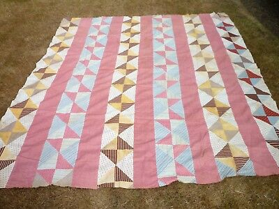 ANTIQUE 1800's QUILT TOP WONDERFUL FABRICS