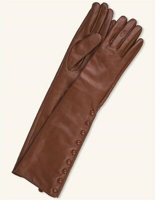 Victorian Trading New L Chestnut Leather Button Elbow Length Sheepskin Gloves