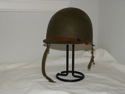 "Mint - WWII US Army M1 - ""S"" Swivel Bail, Front Seam Helmet & Westinghouse Liner"