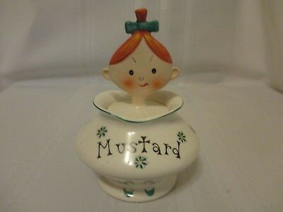 """Holt Howard Ref Book """"Pixieware Jolly Girl """" Mustard Jar  Attached Pixie Spoon"""