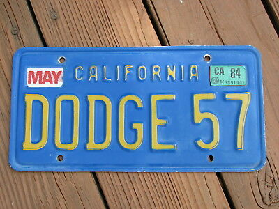 "California License Plate - Vanity, Personalized ""DODGE 57"", 1957 mopar"