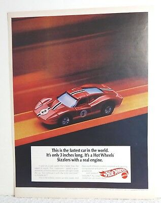 Vintage 1970 Hot Wheels Sizzlers Fastest Car in the World Print Ad - Art Poster