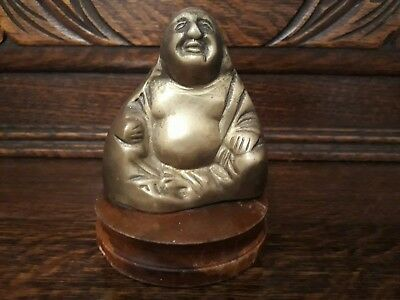 An Unusual Antique/Vintage Brass Buddha On Wooden Base