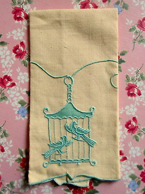 MARGHAB BIRDS IN CAGE Linen Fingertip Guest Towel Embroidered Madeira Vintage
