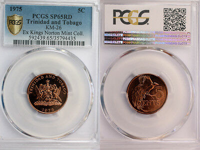 1975 Trinidad & Tobago 5c PCGS SP65 Red - Extremely Rare Kings Norton Mint Proof