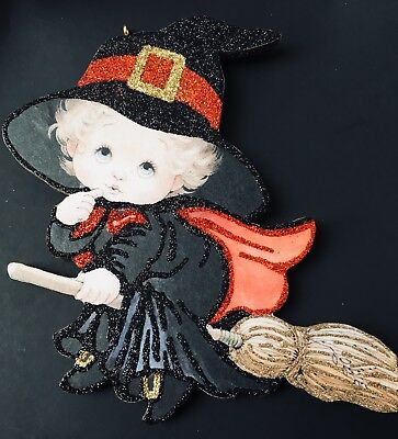 HALLOWEEN GOOD WITCH TRICK OR TREATER Glittered Ornament