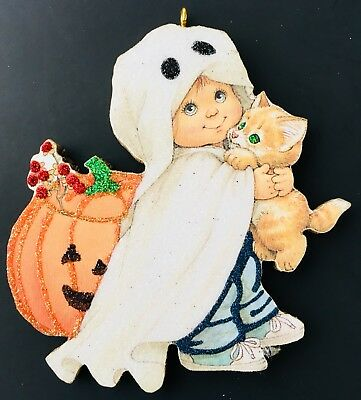 HALLOWEEN FRIENDLY GHOST WITH KITTY TRICK OR TREAT Glittered CARD Ornament