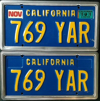 Pair 1970-1980 DMV CLEAR California Blue/Yellow License Plates YOM Ready 1978