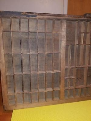 Vintage  Wooden Printers Type Set Tray Shadow Box Letter Press Drawer