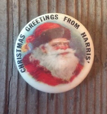 Beautiful Vintage 1900's Christmas Santa Advertising Celluloid Pinback Button!